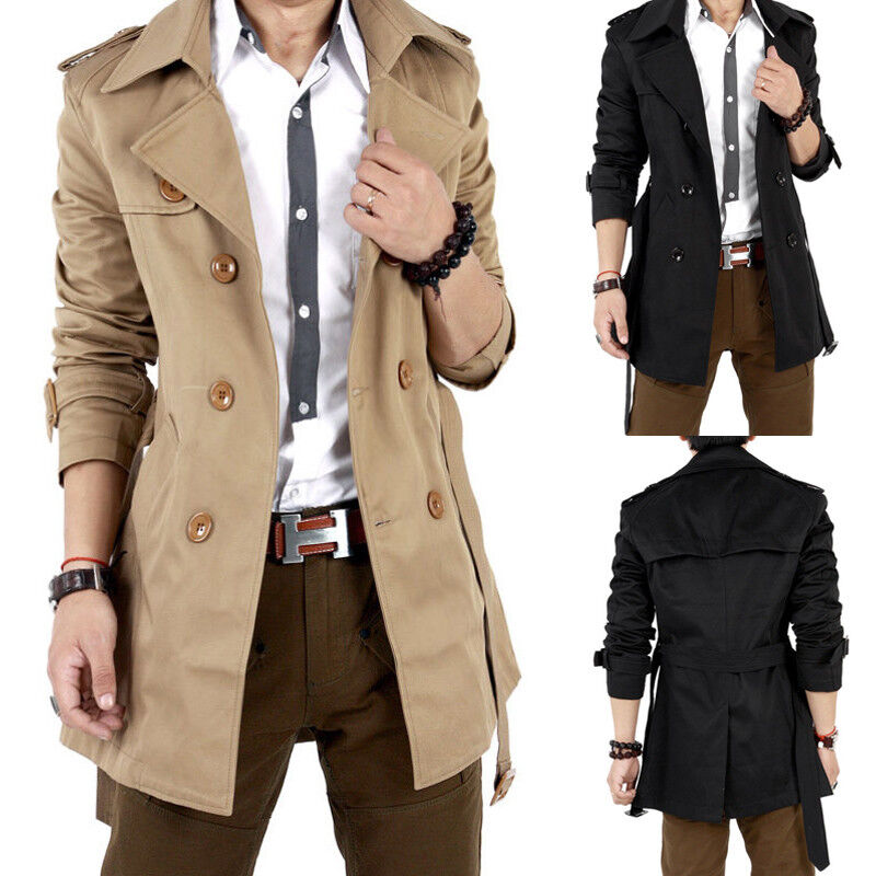 winter herbst herren business jacke sakko mantel lang trenchcoat khaki schwarz ebay. Black Bedroom Furniture Sets. Home Design Ideas