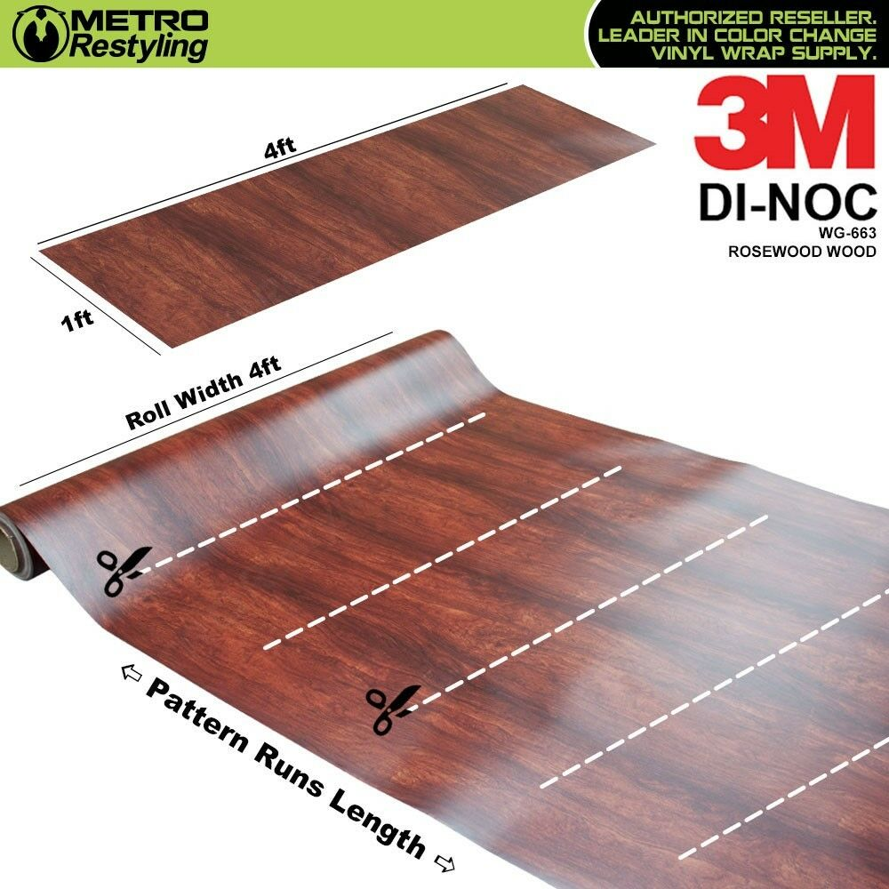 Details About 3m Di Noc Rosewood Wood Grain Vinyl Wrap Sheet Film Sticker Decal Roll Adhesive
