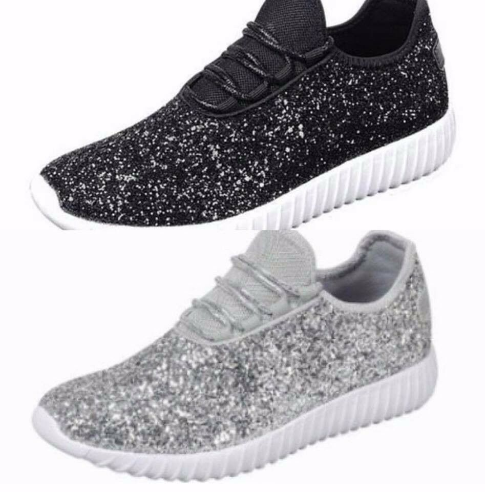 Women Size 7 Sequin Silver Sparkle Glitter Sneakers Tennis ...