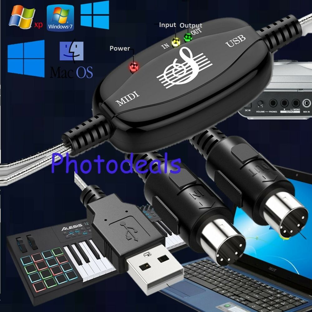 keyboard to pc adapter usb in out midi interface music recording converter 749995567371 ebay. Black Bedroom Furniture Sets. Home Design Ideas
