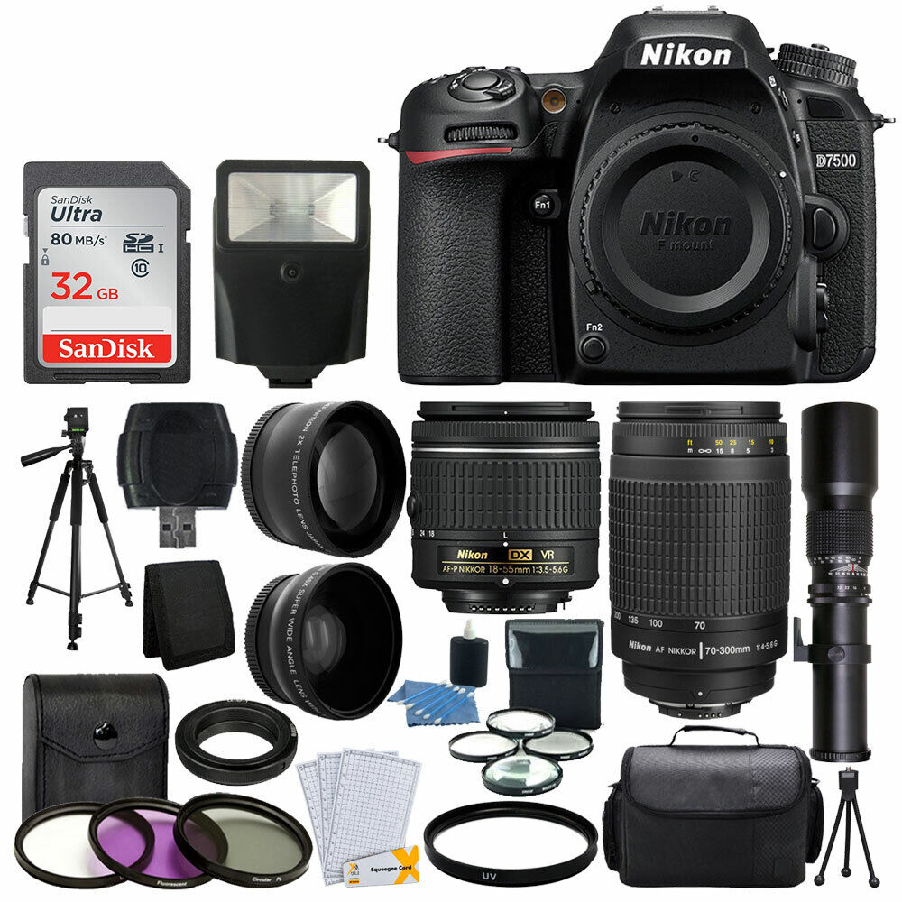 nikon d7500 dslr camera 9 lens 18 55 vr 70 300 500mm 32gb best value bundle ebay. Black Bedroom Furniture Sets. Home Design Ideas