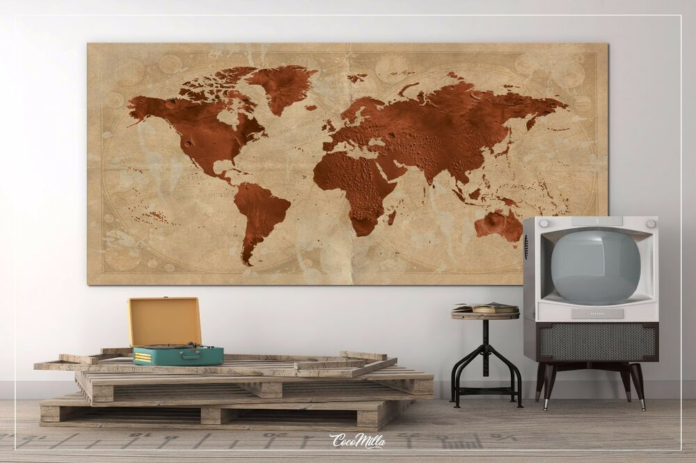 Large Canvas Map Of The World.World Map Extra Large Canvas Print Travel Map Wanderlust World Map