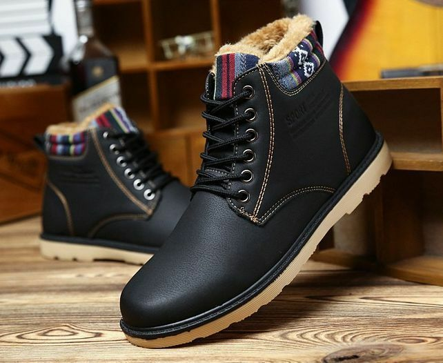Mens Leather Fur Lined Shoes