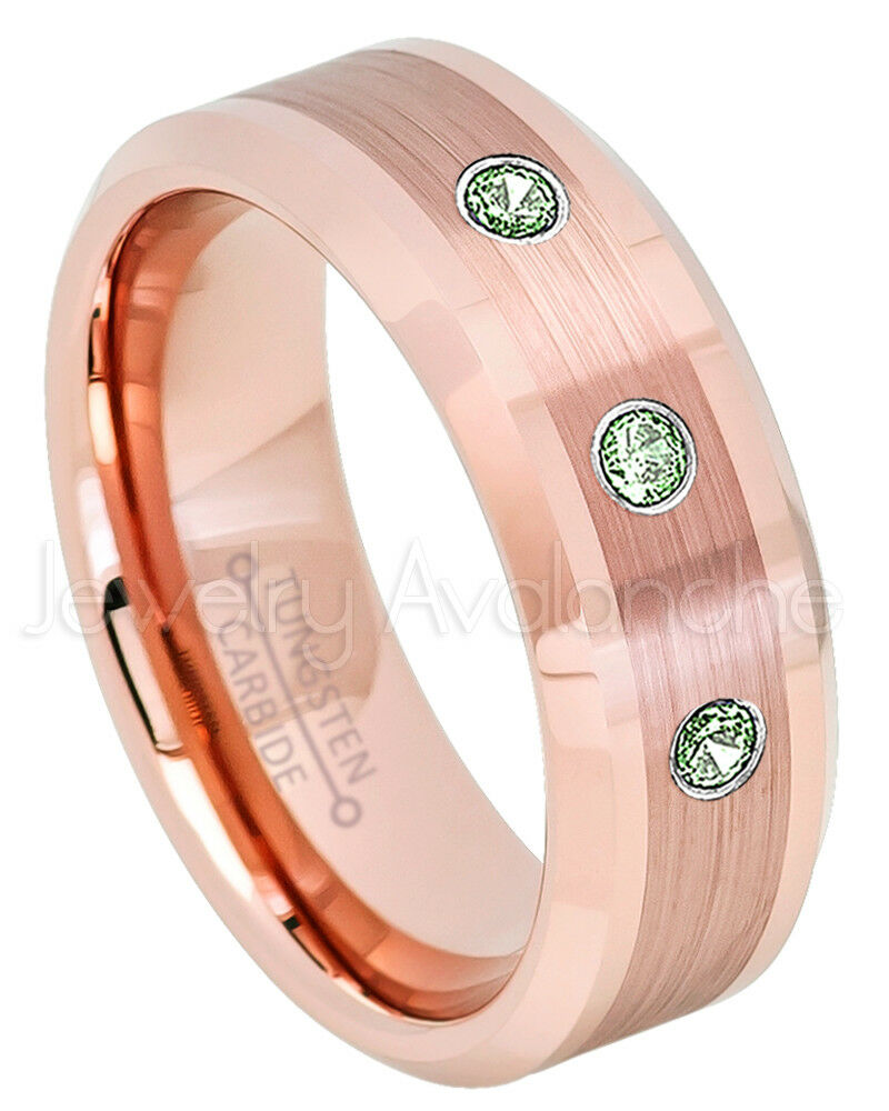 Rose Gold Tungsten Ring, 0.21ctw Alexandrite 3-Stone Ring, June ...