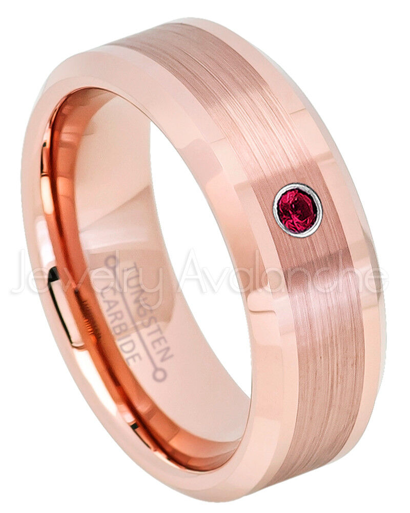 Rose Gold Tungsten Ring, 0.07ct Ruby Solitaire Ring, July Birthstone ...