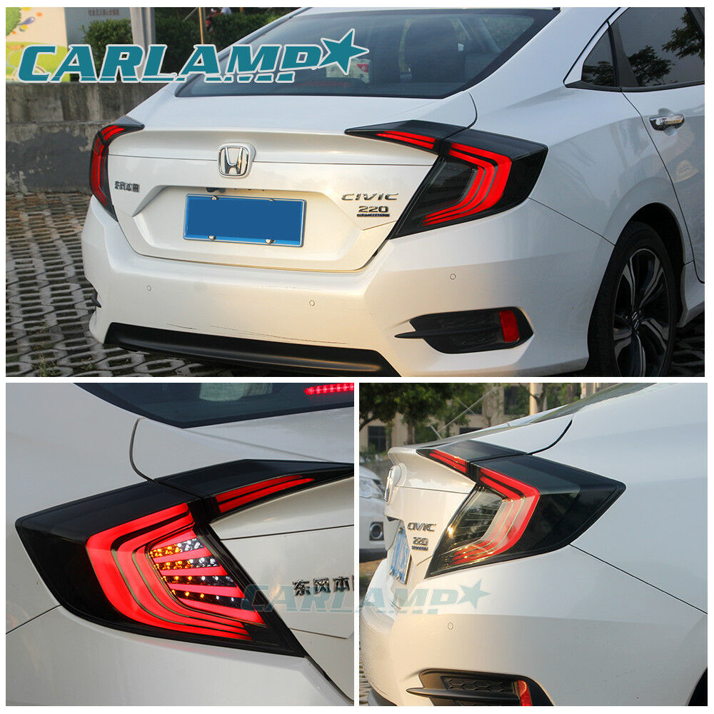 led 4pcs tail lights for honda civic 10th gen 2016 2017 black tinted rear lamps 614024659955 ebay. Black Bedroom Furniture Sets. Home Design Ideas
