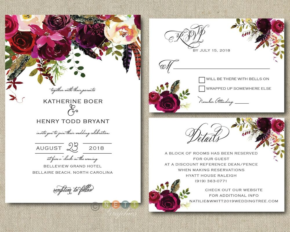 Free Personalized Wedding Invitations: 100 Personalized Wedding Invitations Boho Burgundy Maroon