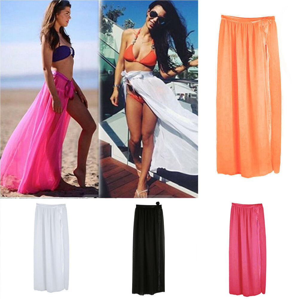 Women Bikini Cover Up Swimwear Sheer Beach Maxi Wrap Skirt