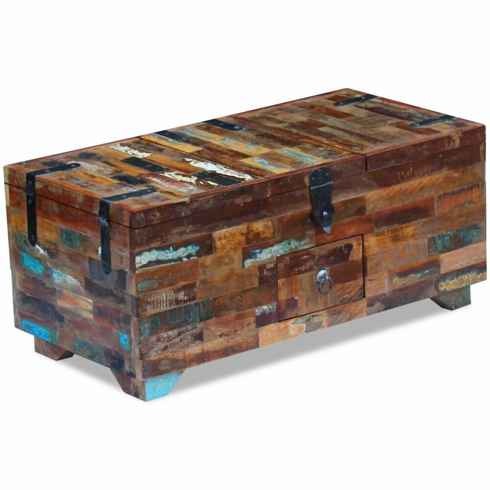 Reclaimed wood coffee table ebay vidaxl solid reclaimed wood storage chest box coffee side couch table trunk geotapseo Image collections