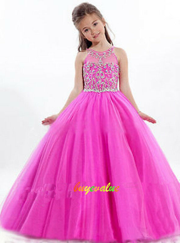 Age 2-14 Girls Party Bridesmaid Wedding Flower girl Dress tutu dress ...