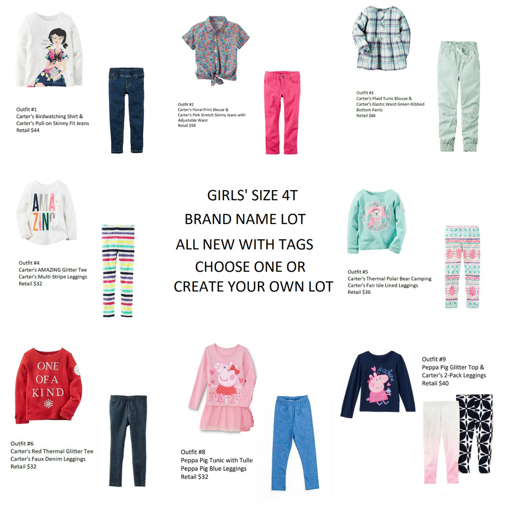 53a11893db Details about NWT Carters Peppa JB Tops Leggings Jeans Sets Girls Size 4T  CREATE YOUR OWN LOT