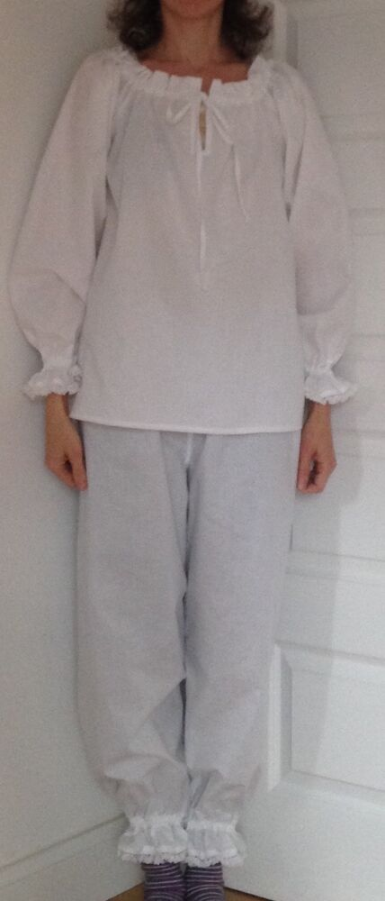 Handmade Victorian style winter pyjamas set camisole top and bloomers 7255148c0