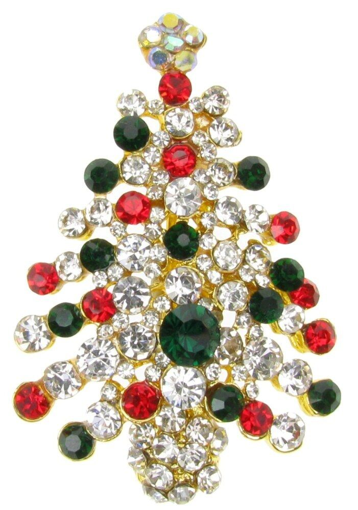8dbd8da7e Details about DIAMANTE RHINESTONE RED CHRISTMAS XMAS TREE BROOCH HANGING  PARTY GIFT - NEW UK