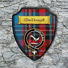 MacDougall Plaque with Scottish Clan Badge on Clan Tartan Background