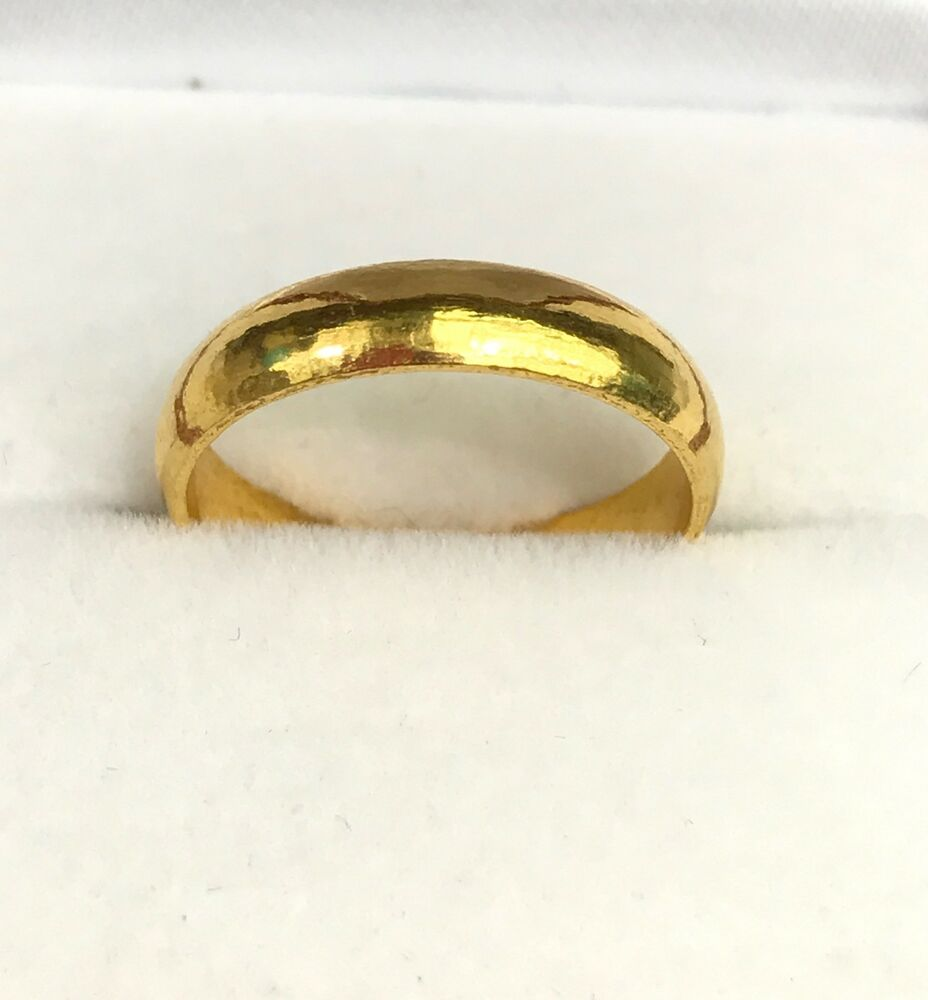 24k Solid Pure 999.9 Gold Handcraft Unisex Band rings/ Wedding ...