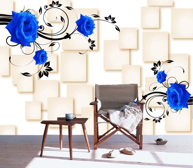 blaue rose quadratische vollziegel 3d voll wandgem lde foto tapete drucken zuhau ebay. Black Bedroom Furniture Sets. Home Design Ideas