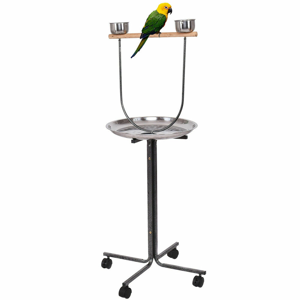 51 pet bird parrot play stand perch w stainless steel pan feeding cups casters 6971282395884. Black Bedroom Furniture Sets. Home Design Ideas
