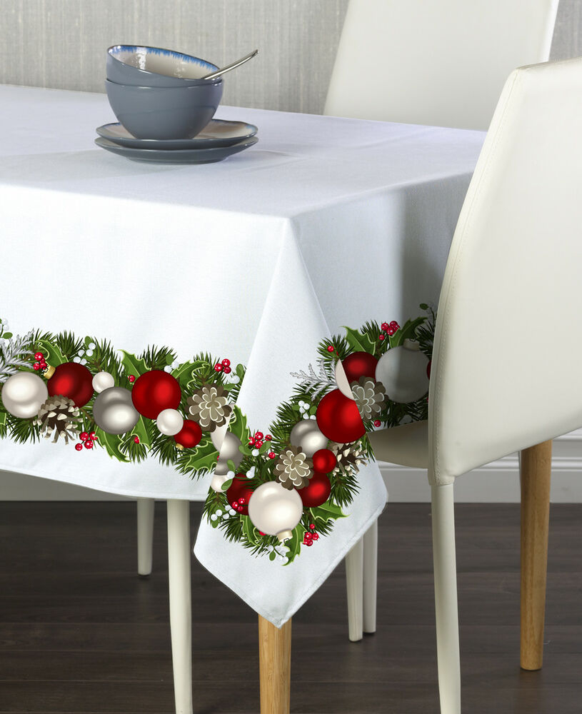Christmas Garland Border Tablecloths Assorted Sizes Ebay