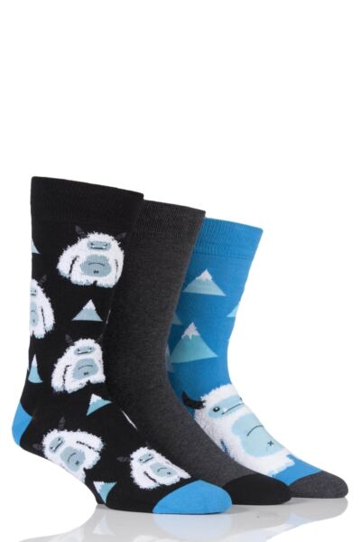 Mens 3 Pair SockShop Just For Fun Yeti Novelty Cotton Socks