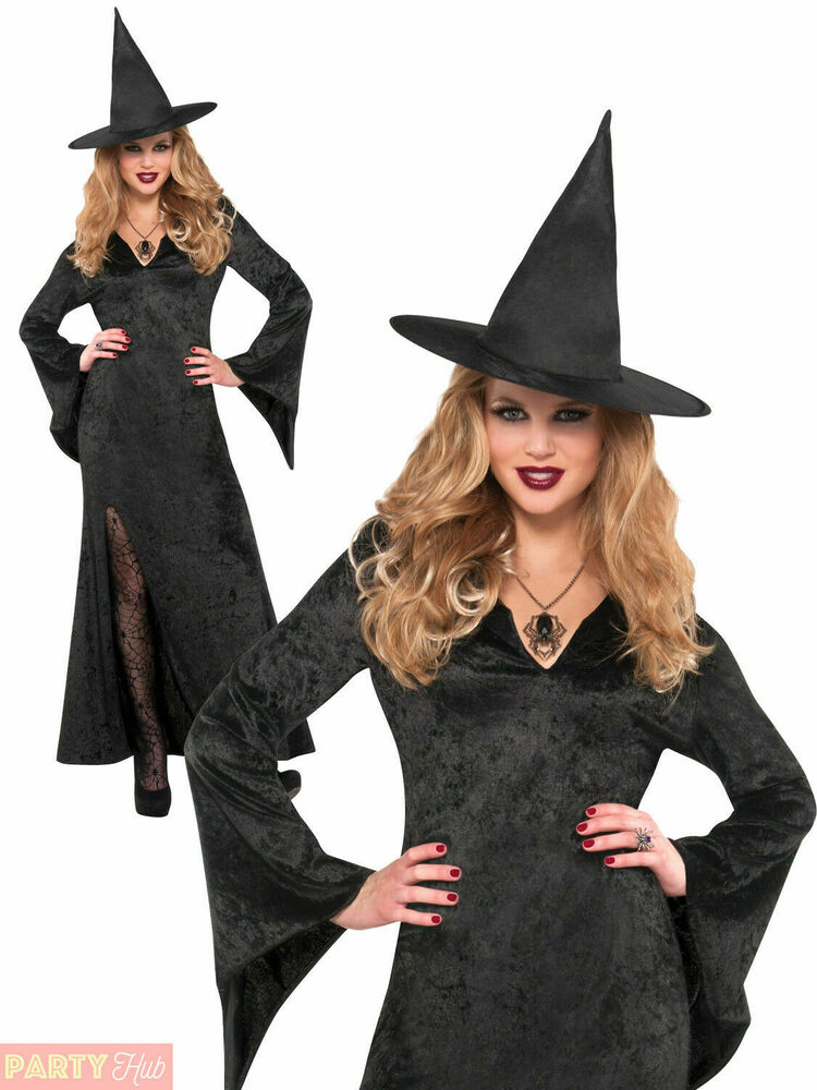 f7b75e9fca5 Details about Ladies Long Black Witch Vampire Costume Womens Halloween Plus  Size Fancy Dress