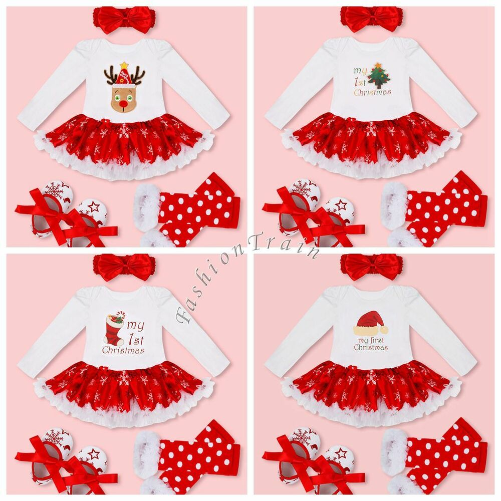 4f36521baf8f Details about Baby Girls Kids My First Christmas Santa Romper Fancy Tutu  Dress Outfit Clothes
