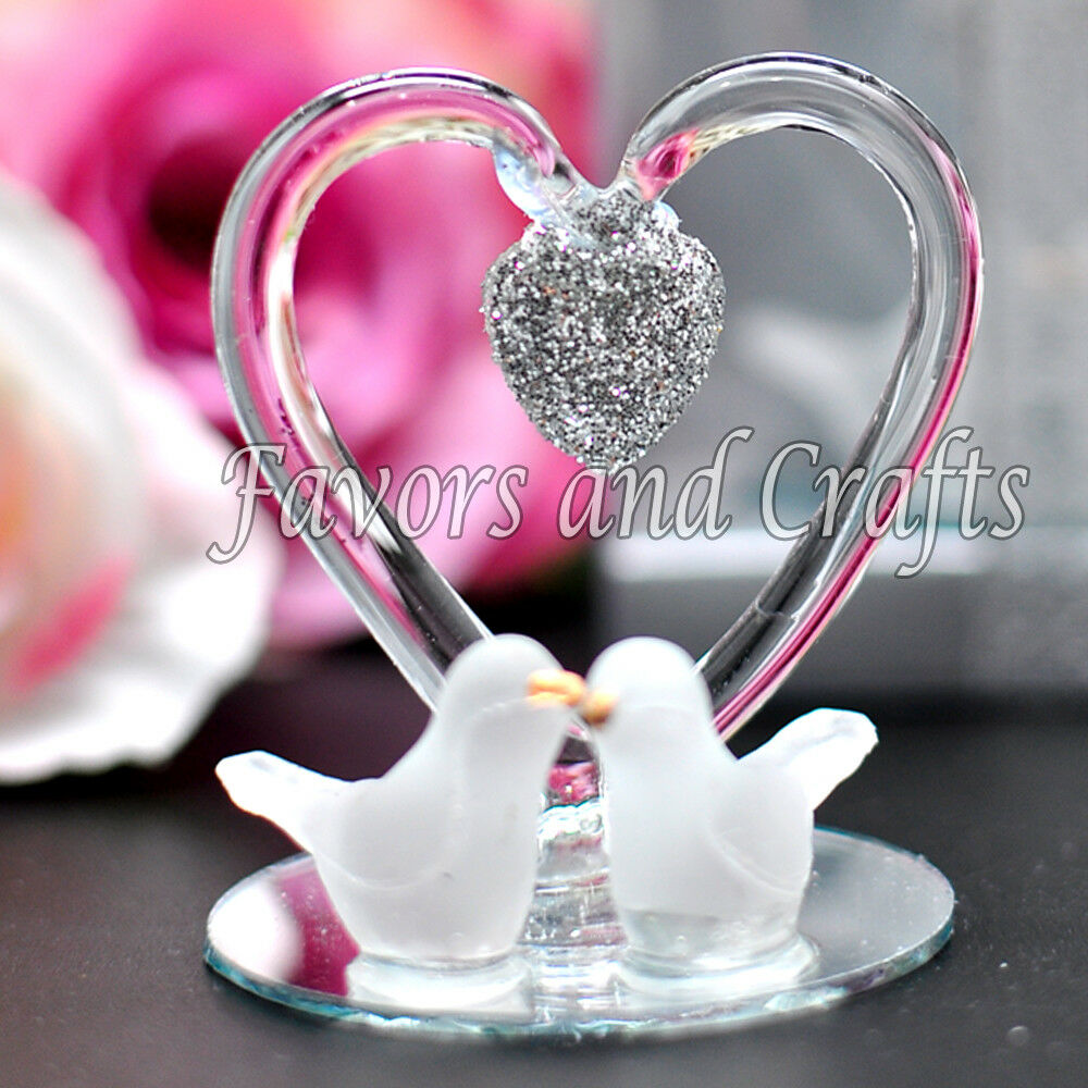 12 Glass Heart Doves Wedding Favors Boxes Anniversary Gift Recuerdos ...