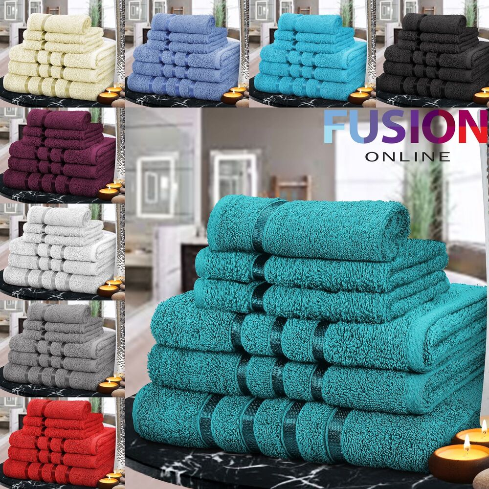 6 Piece Bathroom Bale Towel Set Soft Satin Bath 100