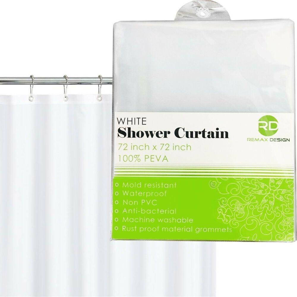 Details About Shower Curtain White Design 100 Waterproof Eco Friendly Large Size