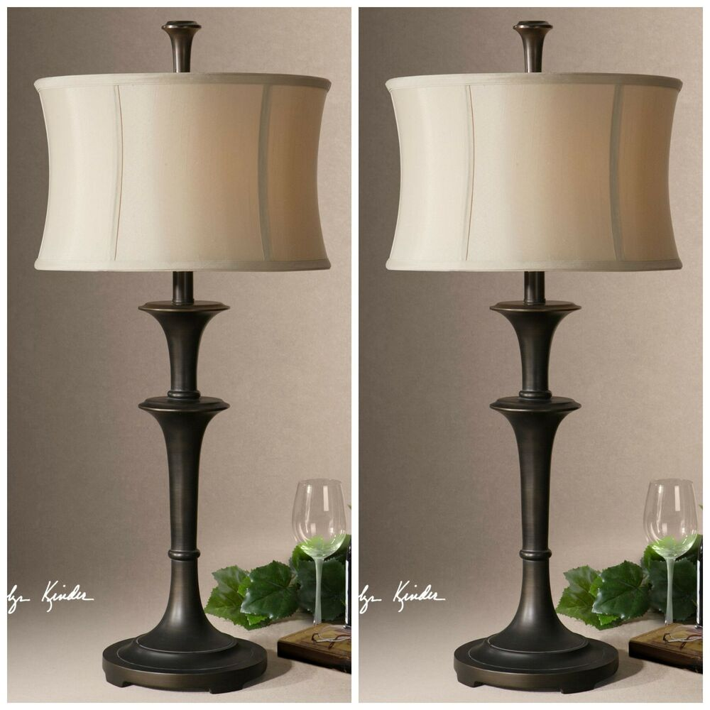 Two New 31 Quot Oil Rubbed Bronze Table Lamp Silken Shade