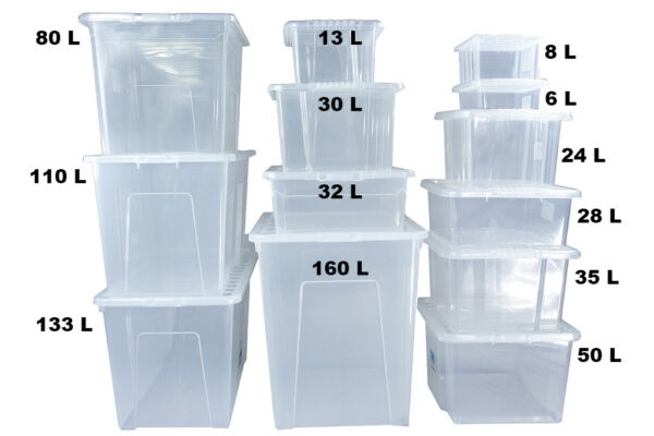 Clear Plastic Storage Boxes With Clear Lids Home Office Stackable Strong Quality