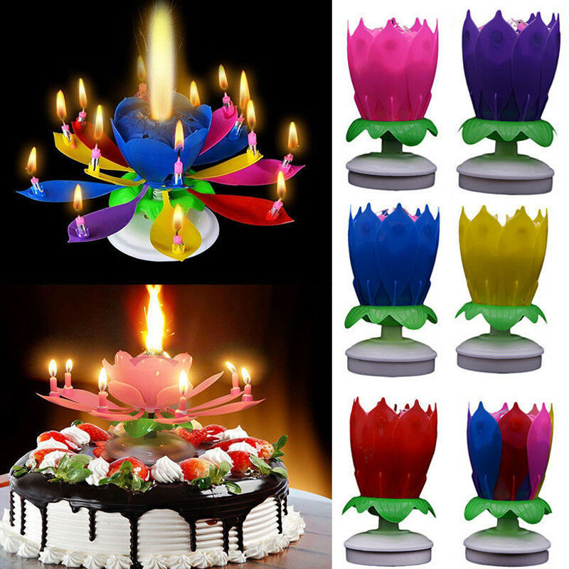 Details About New Cake Topper Lotus Flower Candle Blossom Musical Rotating Birthday Decoration