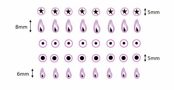 Set of tiny individual cooker top/hob gas flame stickers & other tiny stickers
