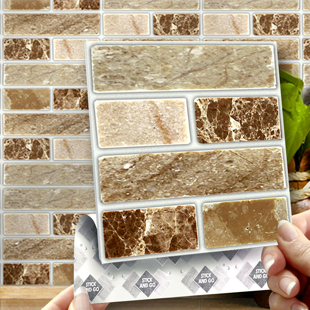 Kitchen Tiles Ebay: 8 Onyx Stone Stick On Self Adhesive Wall Tile Stickers For Kitchen & Bathroom