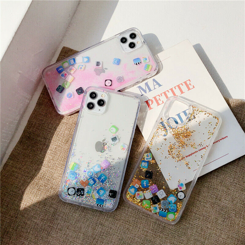 fashion 3d app flowing quicksand glitter case cover for iphone x xs