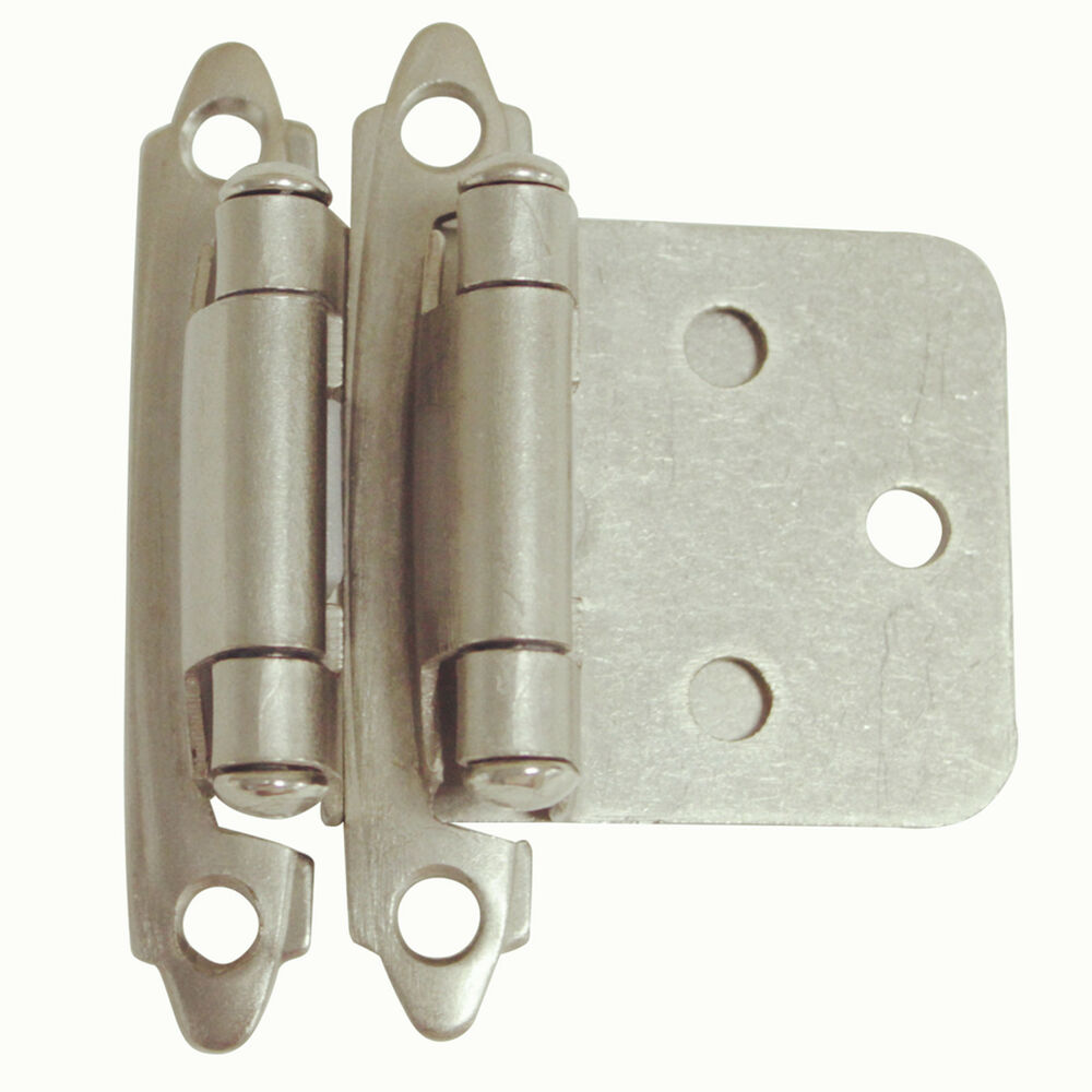 Details About Flush Face Mount Kitchen Cabinet Door Hinges Self Closing Overlay Brushed Nickel