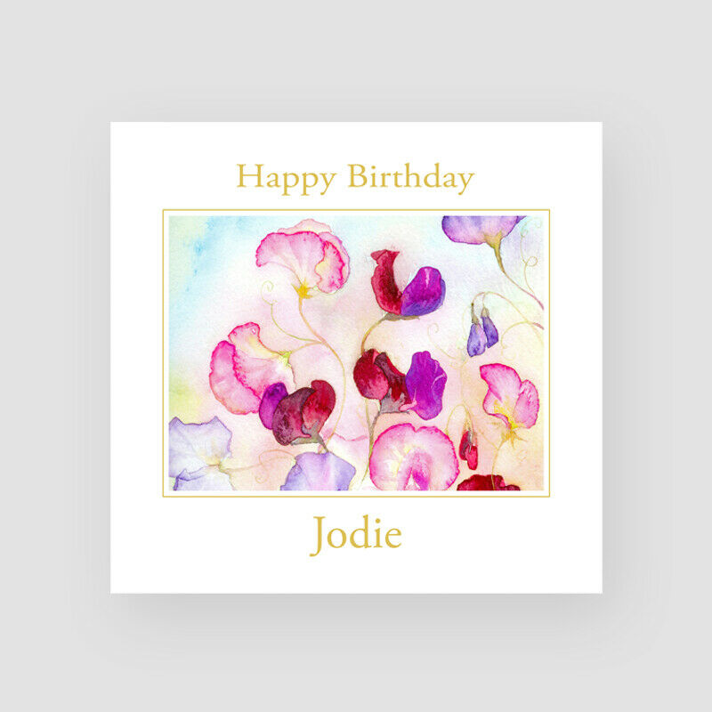 Details About Personalised Handmade Sweet Pea Birthday Card