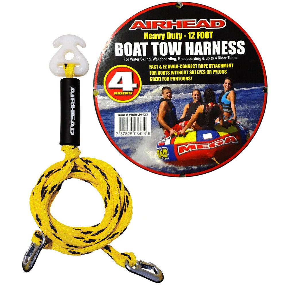 Airhead Heavy-Duty 12Ft Boat Tow Rope Harness 4 Rider Ski Tube Towable  Wakeboard 737826034239 | eBay