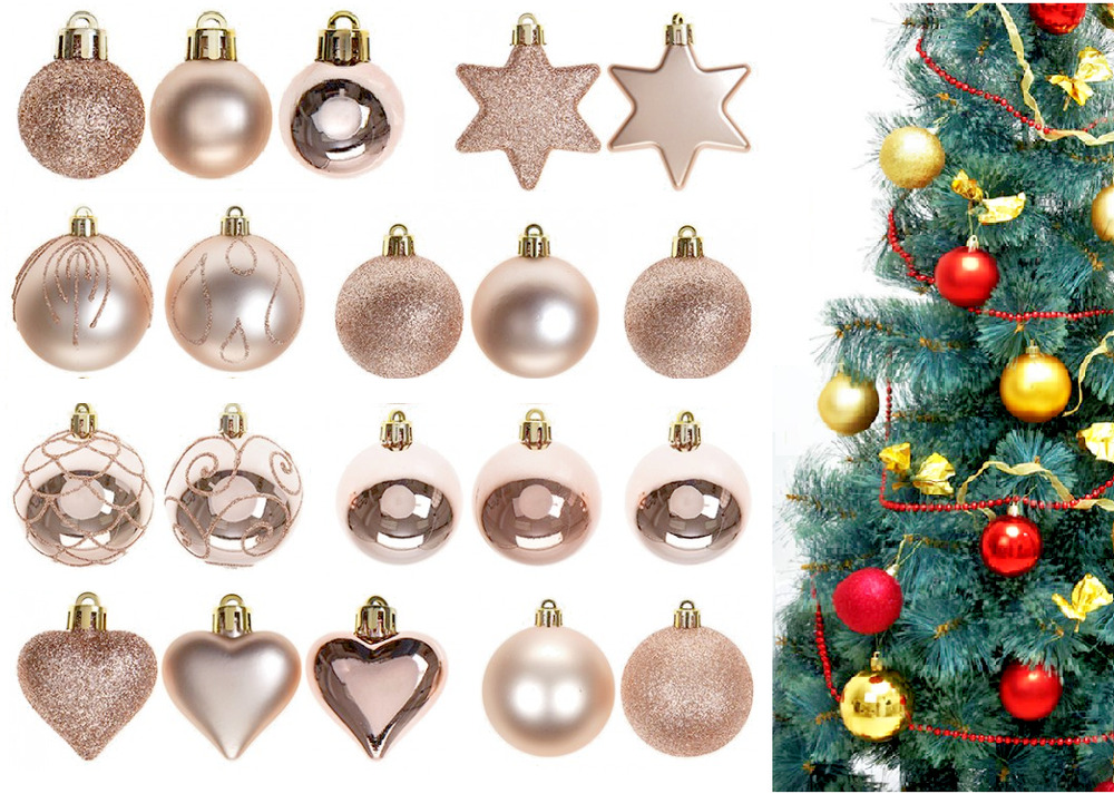 ROSE GOLD CHAMPAGNE CHRISTMAS TREE LUXURY MATT HEART ...