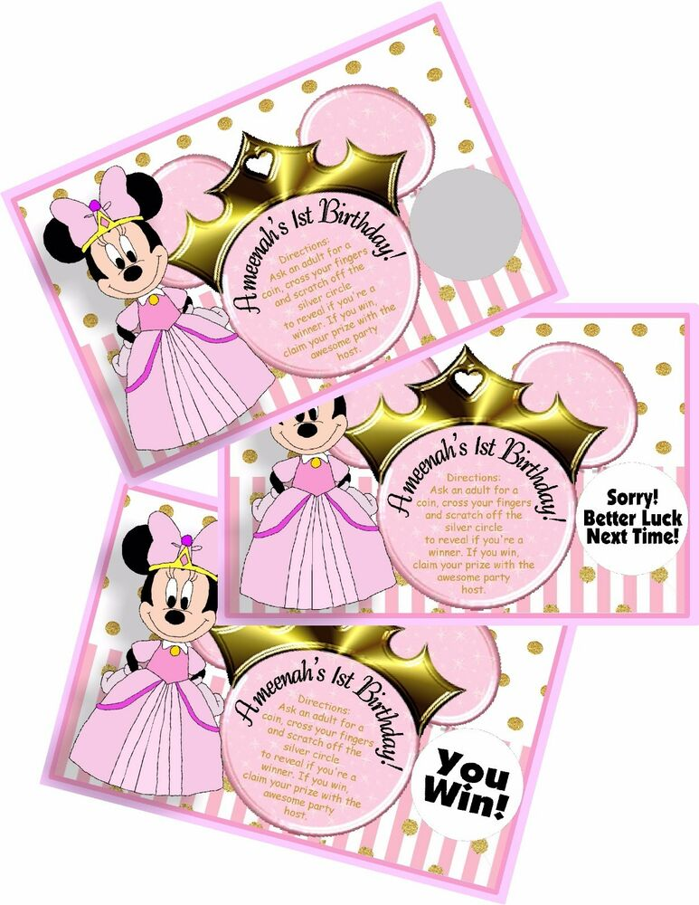 Details About PRINCESS MINNIE MOUSE PINK SCRATCH OFF OFFS PARTY GAME CARDS BIRTHDAY FAVORS