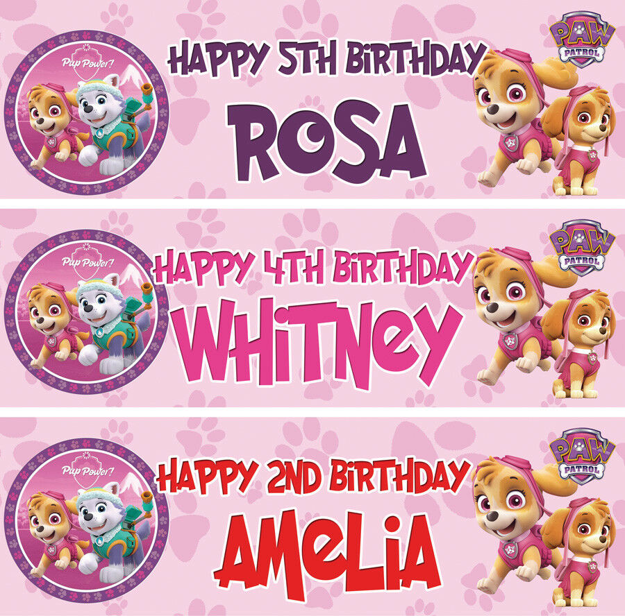 2 X Personalised Birthday Banner Party PAW Patrol Girls
