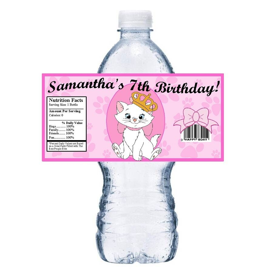 20 ARISTOCATS PERSONALIZED BIRTHDAY PARTY FAVORS ~ WATER BOTTLE ...