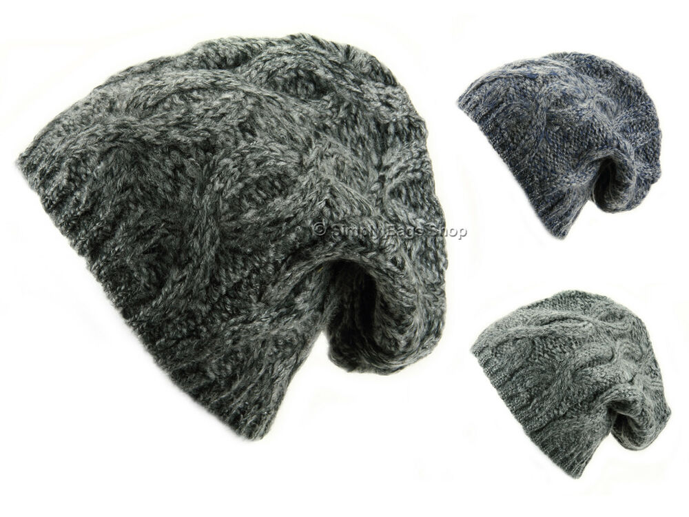c1877bd2 Details about Hawkins Adults Unisex One Size Chunky Cable Knitted Warm  Baggy Beanie Hat