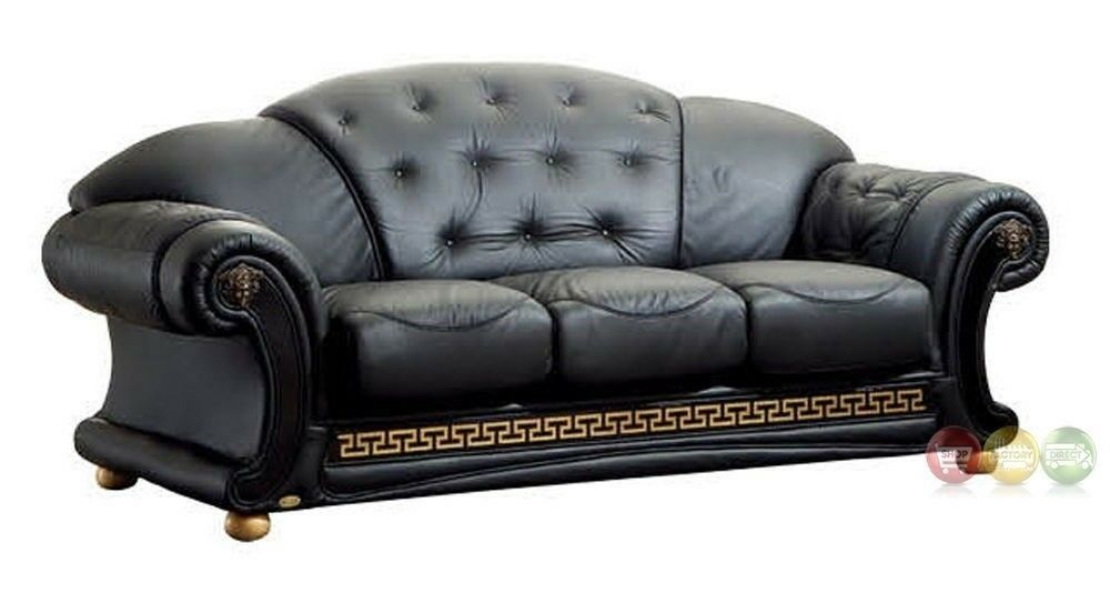 Versace Luxurious Button Tufted Black Italian Leather Sofa