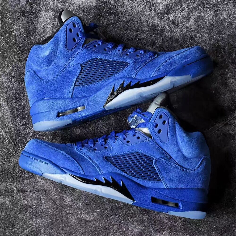 b3048b71f43 Details about AIR JORDAN RETRO 5 HIGH Black Blue Suede Bred royal 11 GS 12  OG Nike red cement