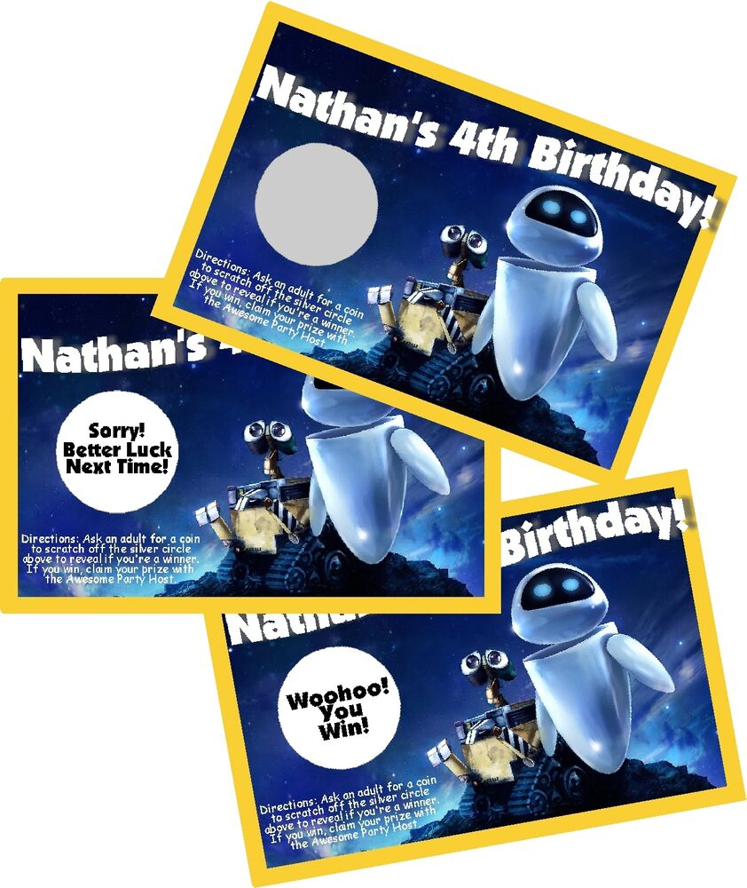 Details About WALL E PERSONLIZED SCRATCH OFF OFFS PARTY GAME GAMES CARDS BIRTHDAY FAVORS