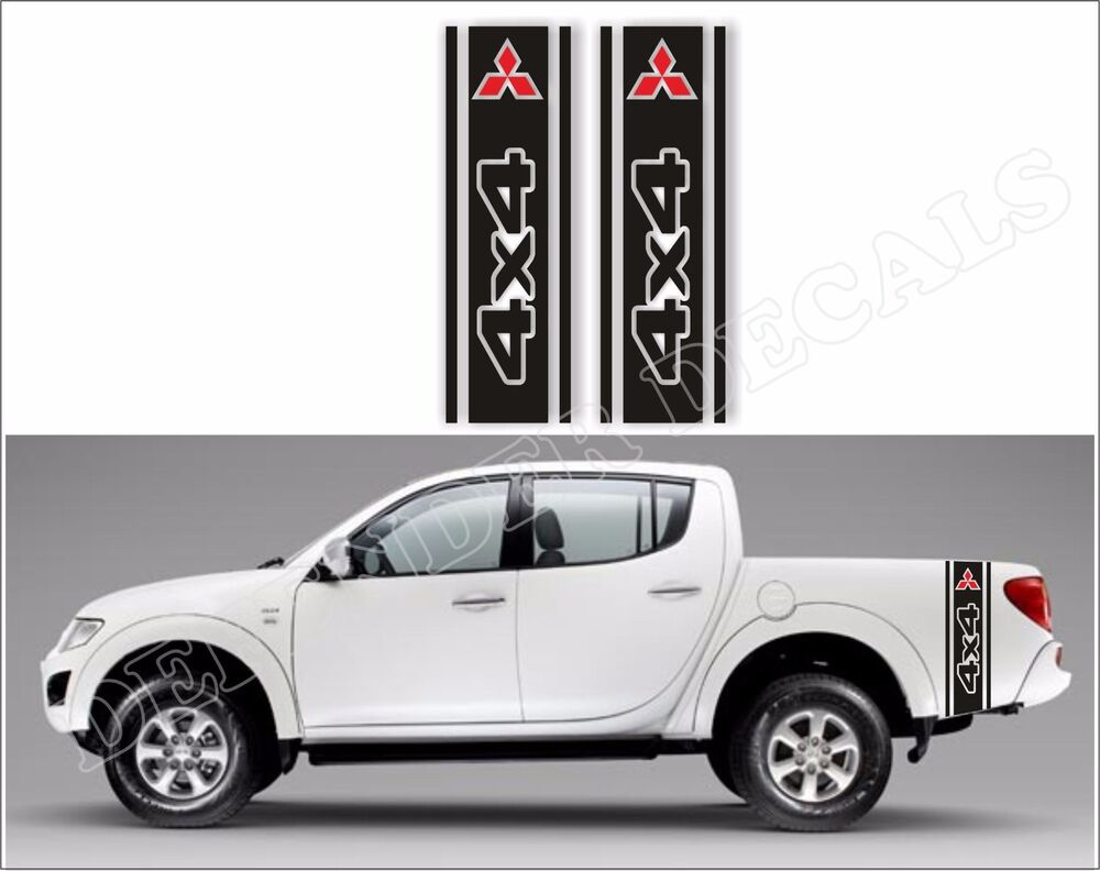 Details about mitsubishi l200 decals truck bed side racing stripe stickers graphics v 3