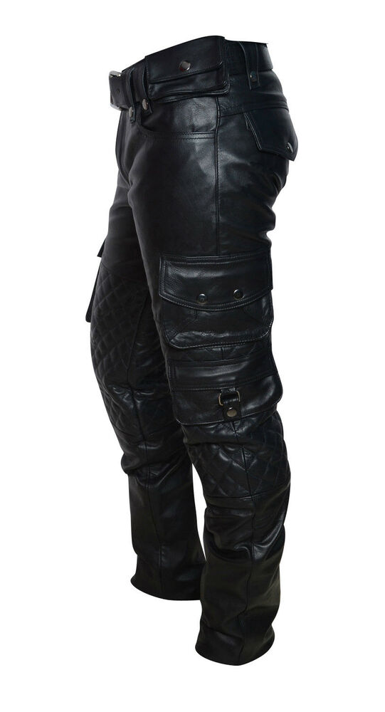 Men S Real Leather Bikers Pants With Quilted Panels And