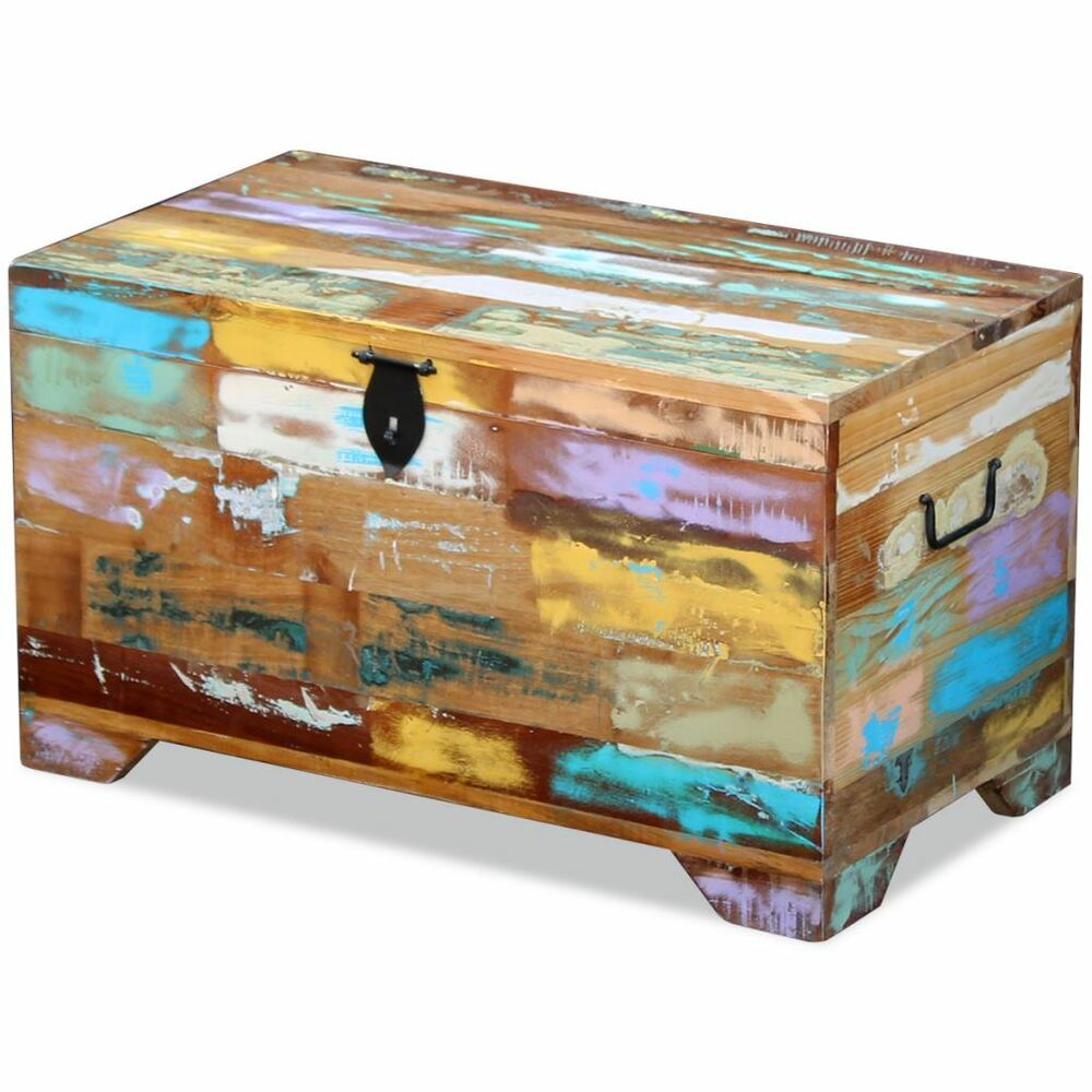 Storage trunk coffee table ebay vidaxl solid reclaimed wood storage chest box trunk coffee side couch table geotapseo Gallery