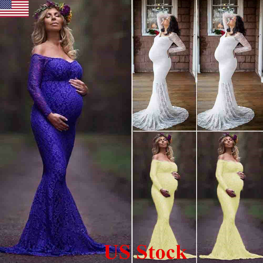 Pregnant clothes ebay women lace maternity photography props long pregnancy dress clothes for pregnant ombrellifo Image collections