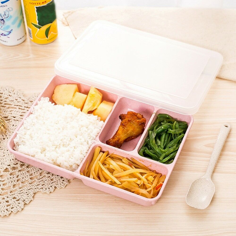 lunch box weizen strohfaser mit l ffel bento box lebensmittelbeh lter student ebay. Black Bedroom Furniture Sets. Home Design Ideas